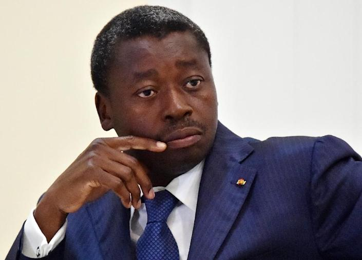 Togo's President Faure Gnassingbe, seen during a meeting with Ghanian President and ECOWAS Chairmen John Dramani Mahama and Ivory Coast President Alassane Ouattara, at the presidential palace in Lome, on April 28, 2015 (AFP Photo/Issouf Sanogo)