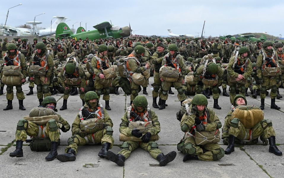 Russian paratroopers take part in drills at a military aerodrome in Taganrog  - Reuters