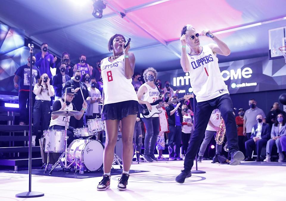 Fitz and the Tantrums perform during the Clippers' groundbreaking ceremony.