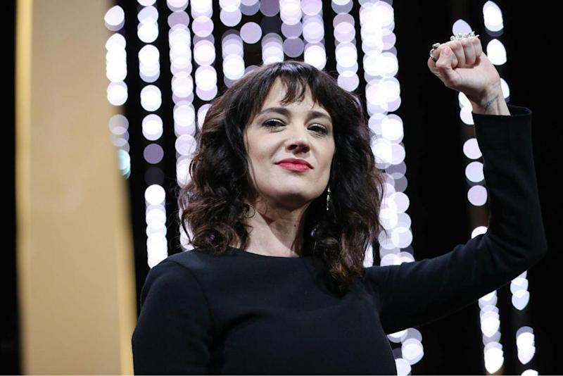 The Italian actress Asia Argento was one of many who used the stage at Cannes Film Festival to protest against men's conduct against women in the film industry (Getty)