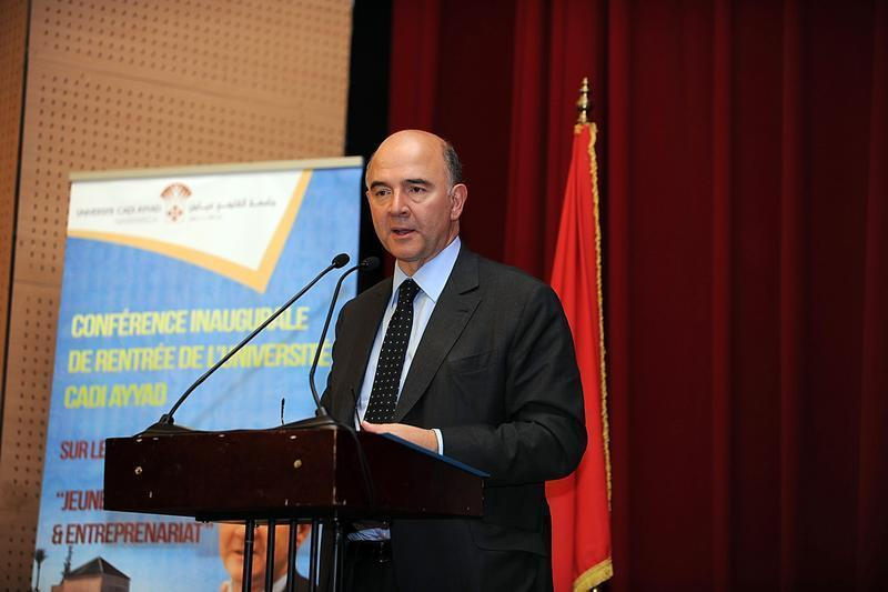 French Finance Minister Pierre Moscovici speaks at a conference at Cadi Ayyad University in Marrakech