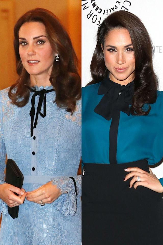 <p>No shirt or dress is truly complete without a bow, à la Blair Waldorf. Meghan wore this skirt/top combo to a <em>Suits </em>screening, and Kate wore this dress to Buckingham Palace to celebrate World Mental Health Day. </p>
