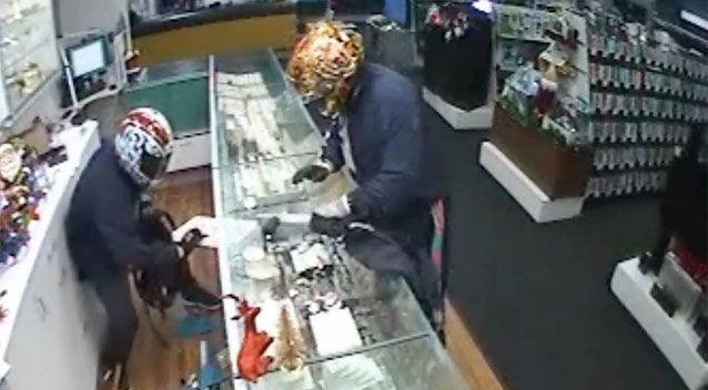The moment the robbers smashed their way into the store and stole goods. Source: Supplied.