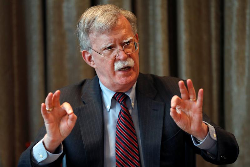U.S. National Security Advisor, John Bolton, gestures as he meets with journalists during a visit to London, Britain August 12, 2019. REUTERS/Peter Nicholls