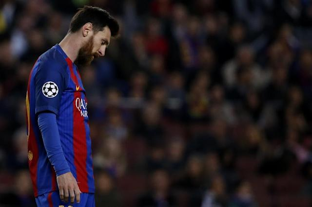 Barcelona's forward Lionel Messi reacts during the UEFA Champions League quarter-final second leg football match against Juventus on April 19, 2017 (AFP Photo/MARCO BERTORELLO)