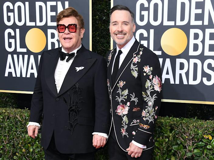 Elton John and David Furnish golden globes