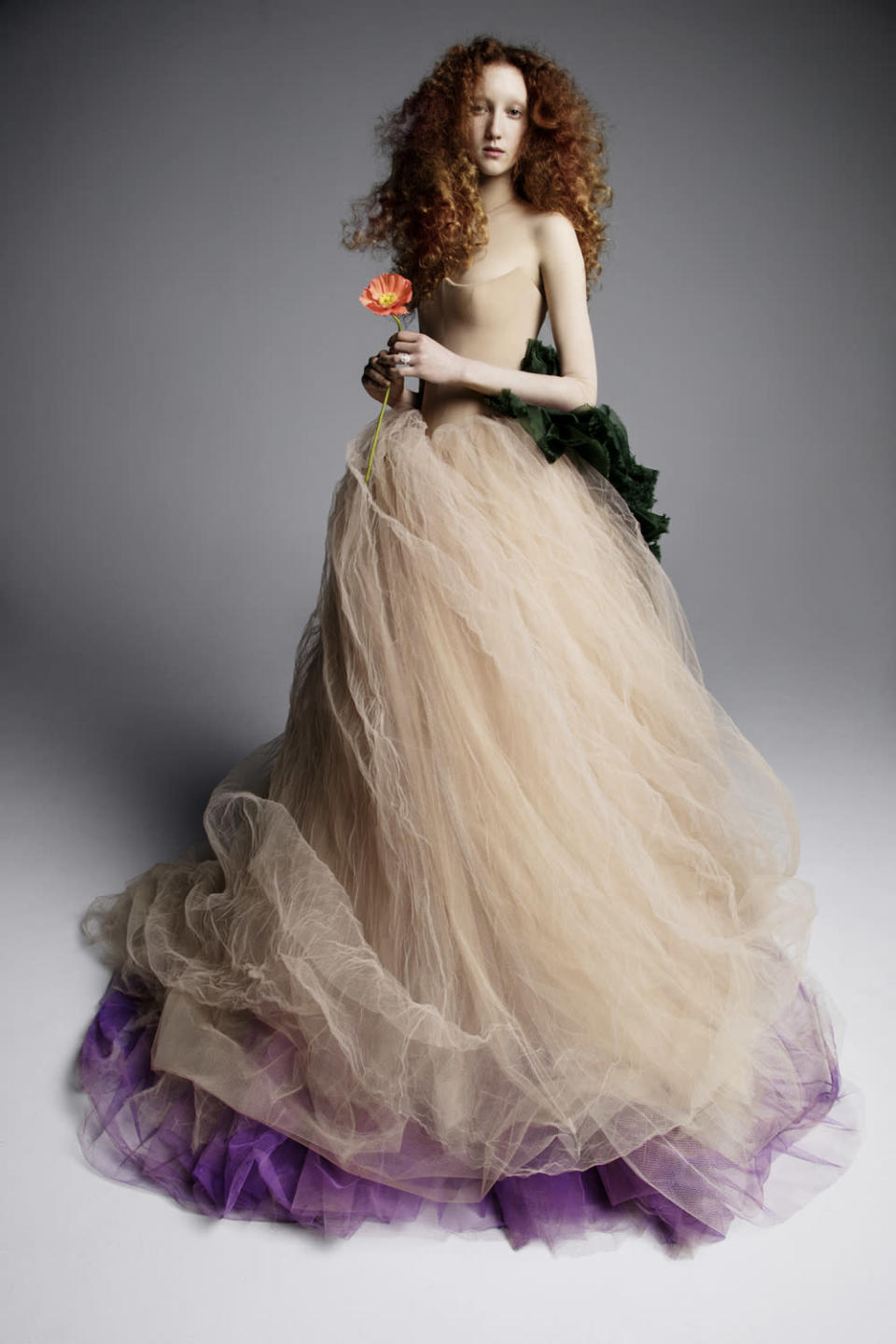 <p>Beige, green, and purple strapless gown. (Photo: Inez & Vinoodh) </p>