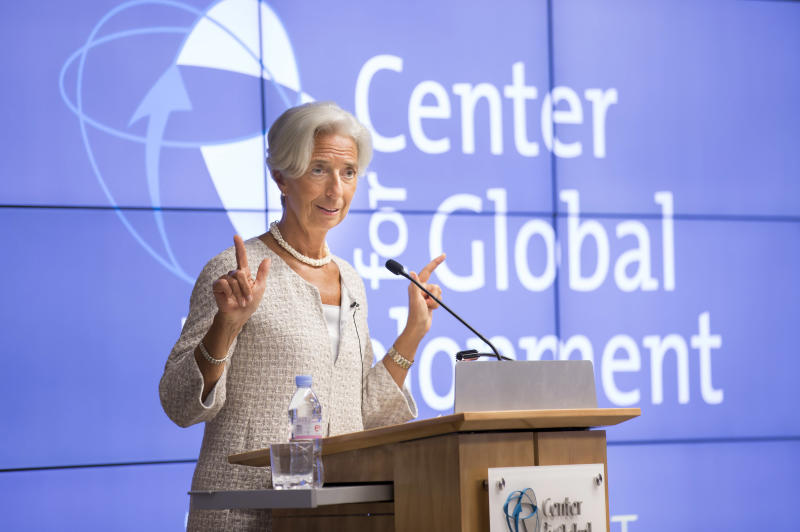 This IMF handout photo shows International Monetary Fund Managing Director Christine Lagarde as she speaks at the Center for Global Development July 31, 2014 in Washington, DC