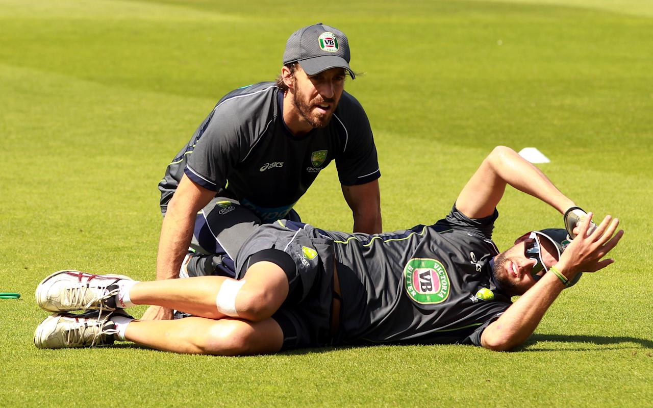 Australia's Nathan Lyon receives treatment during a nets session at The Kia Oval, London. PRESS ASSOCIATION Photo. Picture date: Tuesday August 20, 2013. See PA story CRICKET Australia. Photo credit should read: Sean Dempsey/PA Wire. RESTRICTIONS: Use subject to restrictions. Editorial use only. No commercial use. No Book sales without prior written permission. No transmission of moving images. Official sponsor logos only. Call 44 (0)1158 447447 for further information.during a nets session at The Kia Oval, London. PRESS ASSOCIATION Photo. Picture date: Tuesday August 20, 2013. See PA story CRICKET Australia. Photo credit should read: Sean Dempsey/PA Wire. RESTRICTIONS: Use subject to restrictions. Editorial use only. No commercial use. No Book sales without prior written permission. No transmission of moving images. Official sponsor logos only. Call 44 (0)1158 447447 for further information.