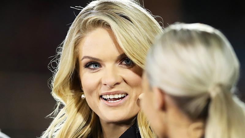 Erin Molan is pictured during the women's State of Origin call.