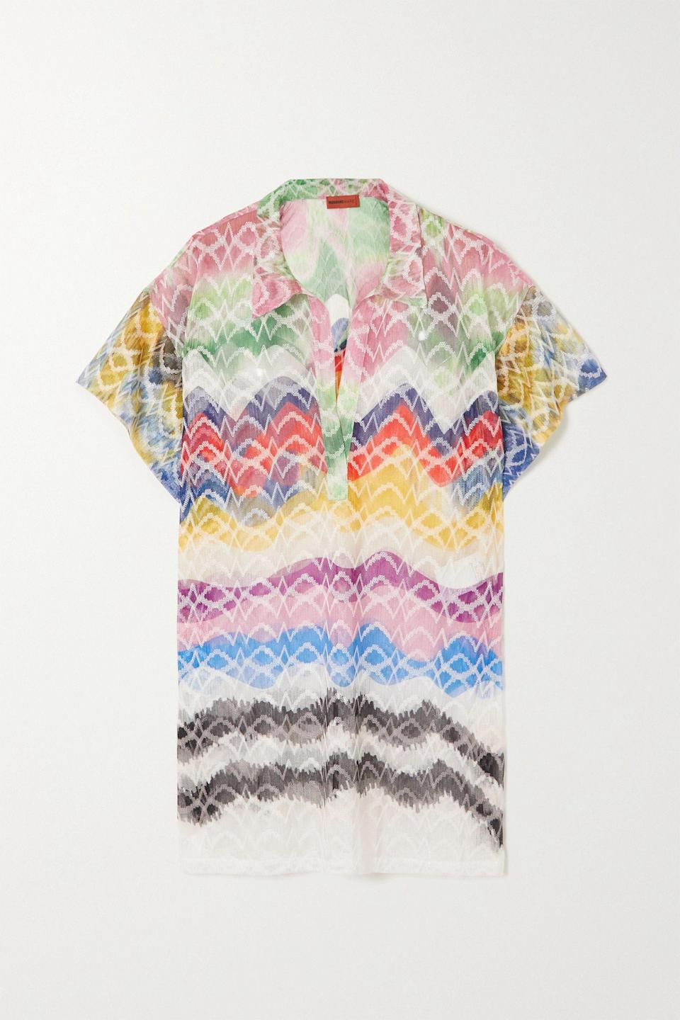 """<p><strong>MISSONI</strong></p><p>net-a-porter.com</p><p><strong>$875.00</strong></p><p><a href=""""https://go.redirectingat.com?id=74968X1596630&url=https%3A%2F%2Fwww.net-a-porter.com%2Fen-us%2Fshop%2Fproduct%2Fmissoni%2Fclothing%2Fcoverups%2Fmare-crochet-knit-kaftan%2F2204324138986987&sref=https%3A%2F%2Fwww.townandcountrymag.com%2Fstyle%2Ffashion-trends%2Fg36421997%2Fcolorful-summer-outfit-ideas%2F"""" rel=""""nofollow noopener"""" target=""""_blank"""" data-ylk=""""slk:Shop Now"""" class=""""link rapid-noclick-resp"""">Shop Now</a></p><p>Missoni feels incredibly of the moment this summer (and, let's be honest, every summer). This semi-sheer collared caftan is impossibly chic. </p>"""