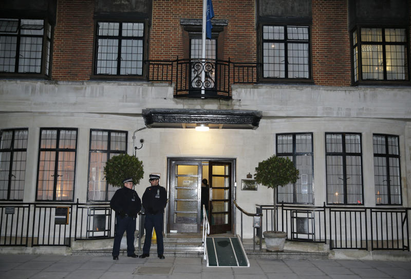 Two policemen stand guard outside King Edward VII hospital , in central London, Friday, Dec.  7, 2012.  King Edward VII hospital says a nurse involved in a prank telephone call to elicit information about the Duchess of Cambridge has died. The hospital said Friday that Jacintha Saldanha had been a victim of the call made by two Australian radio disc jockeys. They did not immediately say what role she played in the call.  (AP Photo/Lefteris Pitarakis)