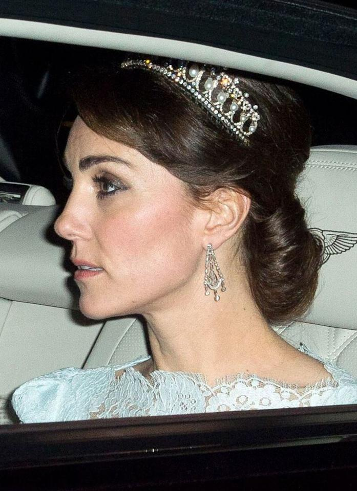 Kate wore Queen Mary's Lover's Knot pearl and diamond tiara for the first time in December 2015 for the Diplomatic Reception, with her Alexander McQueen dress. The tiara is sometimes referred to as the Cambridge Lover's Knot, but it is actually a replica of it, which was commissioned by Queen Mary in 1914 and made by Garrard. Its most famous wearer is Princess Diana, who was given the tiara as a wedding gift from the Queen in 1981 (Rex)