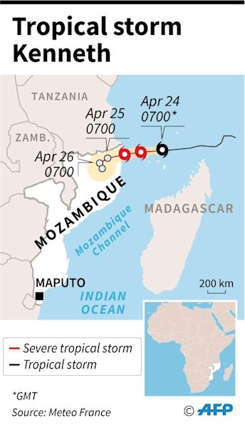 Map showing the path of tropical storm Kenneth which threatens Mozambique just weeks after it was ravaged by cyclone Idai (AFP Photo/)