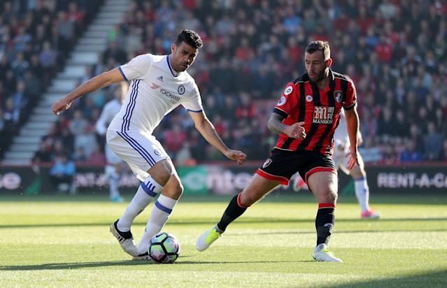 <p>Diego Costa puts more pressure on the Cherries' defence</p>