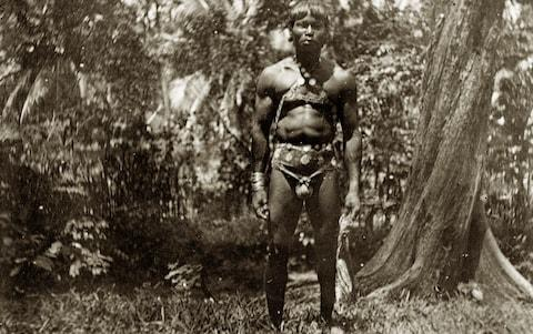 A 1900 image of a Jarawa tribesman on India's Andaman island, who experts say are today threatened by outside influence - Credit: UniversalImagesGroup/Getty