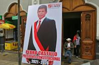 Leftist presidential candidate Pedro Castillo - here in a banner outside his party's headquarters in Lima - has yet to be officially confirmed as Peru's next president
