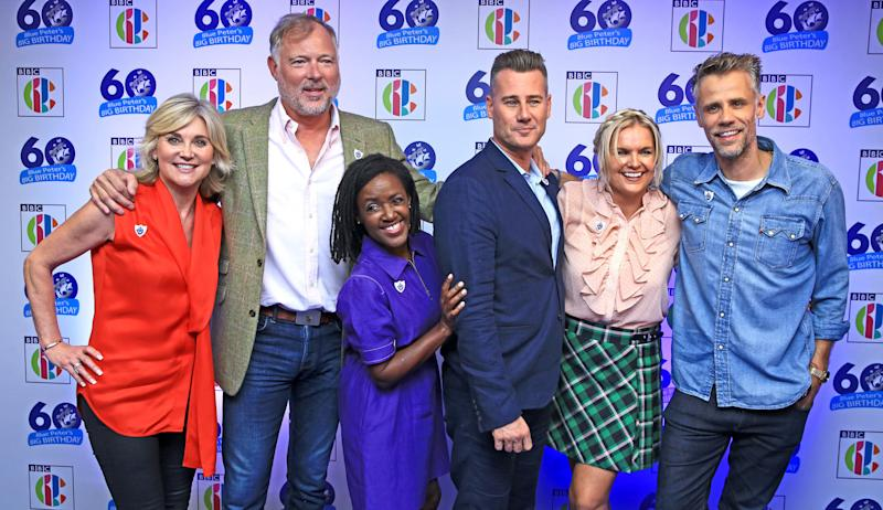 (Left to right) Anthea Turner, John Leslie, Diane-Louise Jordan, Tim Vincent, Katie Hill and Richard Bacon attend Blue Peter's Big Birthday, celebrating the show's 60th anniversary, at the BBC Philharmonic Studio at Media City UK, Salford.