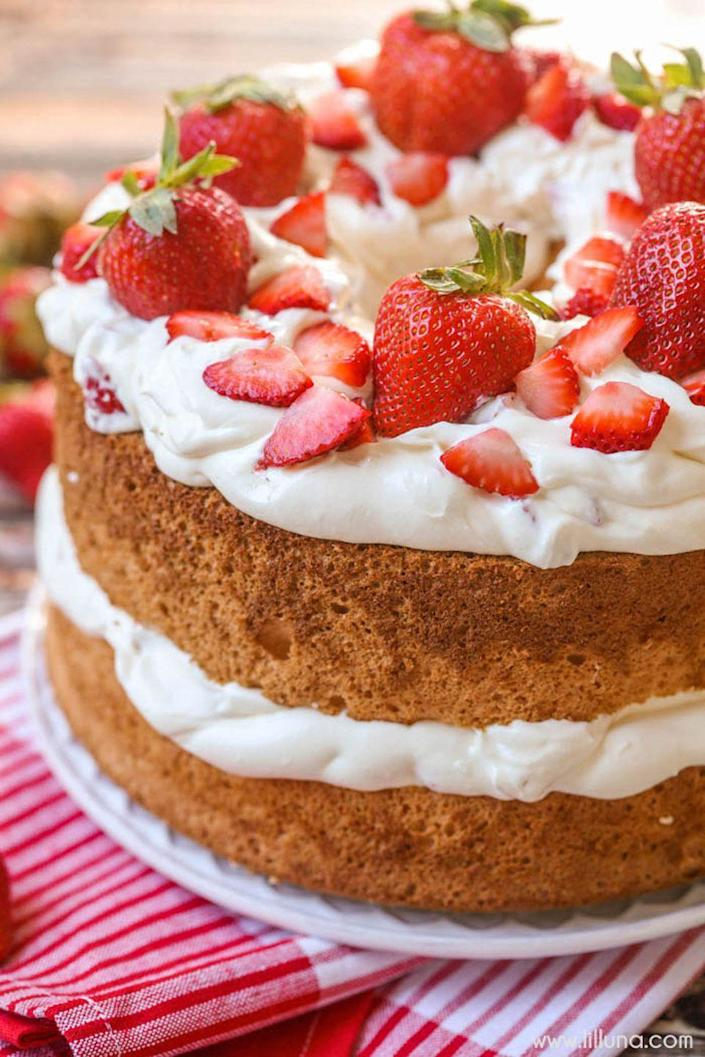 """<p>Mom will love the lightness of the angel food cake—not to mention the creamy strawberry topping.</p><p><strong>Get the recipe at <a href=""""https://lilluna.com/strawberries-and-cream-angel-food-cake-2/"""" rel=""""nofollow noopener"""" target=""""_blank"""" data-ylk=""""slk:Lil' Luna"""" class=""""link rapid-noclick-resp"""">Lil' Luna</a>.</strong> </p>"""
