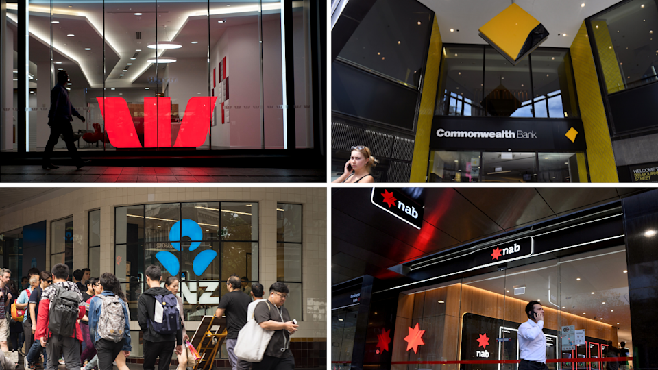 The exterior of Westpac, CBA, ANZ and NAB branches.