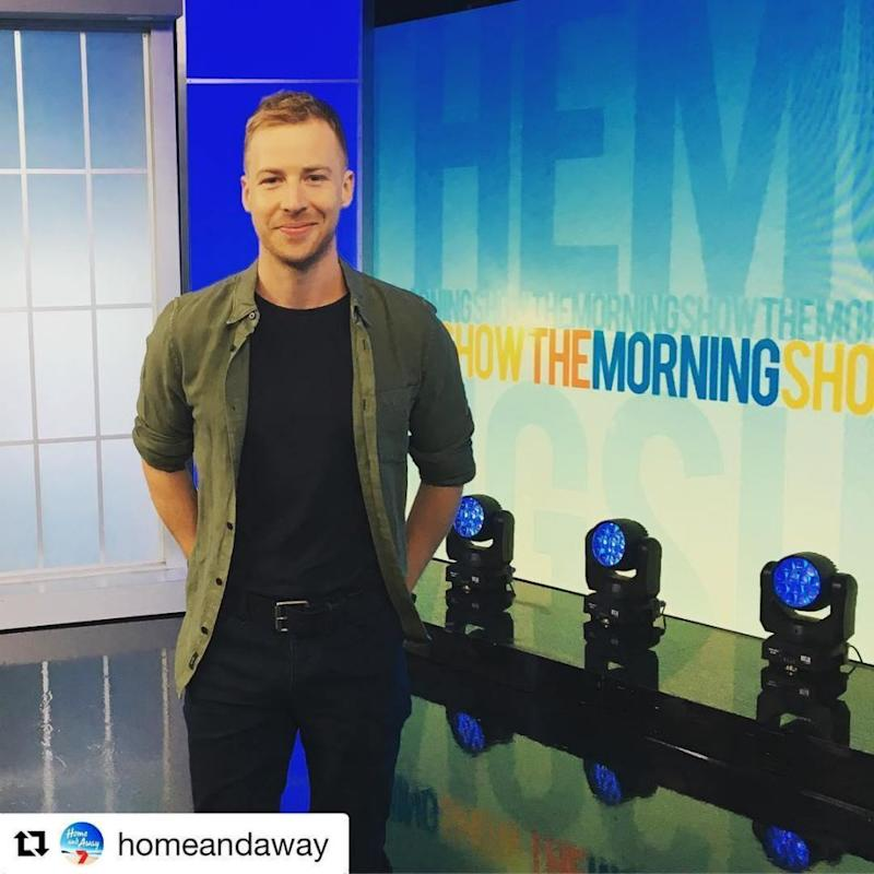 Angus poses for a pic after his Morning Show appearance on Channel 7 with Larry Emdur and Kylie Gillies. Source: Instagram/MrAngusMcClaren