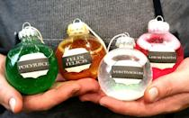 """<p>Maybe you'll find some """"Liquid Luck"""" under the tree if you hang the Felix Felicis potion early enough!</p><p><strong>Get the tutorial at <a href=""""http://lemonlimeadventures.com/diy-harry-potter-potions-ornaments/"""" rel=""""nofollow noopener"""" target=""""_blank"""" data-ylk=""""slk:Lemon Lime Adventures"""" class=""""link rapid-noclick-resp"""">Lemon Lime Adventures</a>.</strong><br></p><p><a class=""""link rapid-noclick-resp"""" href=""""https://www.amazon.com/Creative-Hobbies%C2%AE-Plastic-Ornaments-Crafting-/dp/B00EA27NYU/?tag=syn-yahoo-20&ascsubtag=%5Bartid%7C10050.g.2764%5Bsrc%7Cyahoo-us"""" rel=""""nofollow noopener"""" target=""""_blank"""" data-ylk=""""slk:SHOP CRAFT ORNAMENTS"""">SHOP CRAFT ORNAMENTS</a></p>"""
