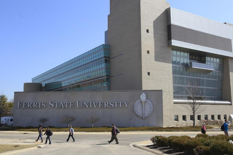 In a March 14, 2012 photo, the university library at Ferris State University in Big Rapids, Mich., is seen. The library houses the Jim Crow Museum of Racist Memorabilia, which says it has amassed the nation's largest public collection of artifacts spanning the segregation era, from Reconstruction until the civil rights movement, and beyond. (AP Photo/Carlos Osorio)