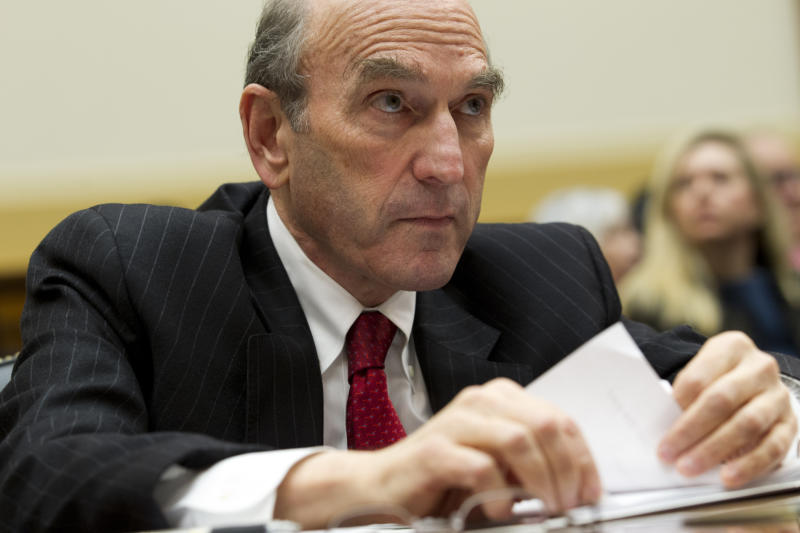 U.S. Special Representative for Venezuela Elliott Abrams testifies before the House Foreign Affairs subcommittee hearing on Venezuela on Capitol Hill in Washington, Wednesday, Feb. 13, 2019. (AP Photo/Jose Luis Magana)