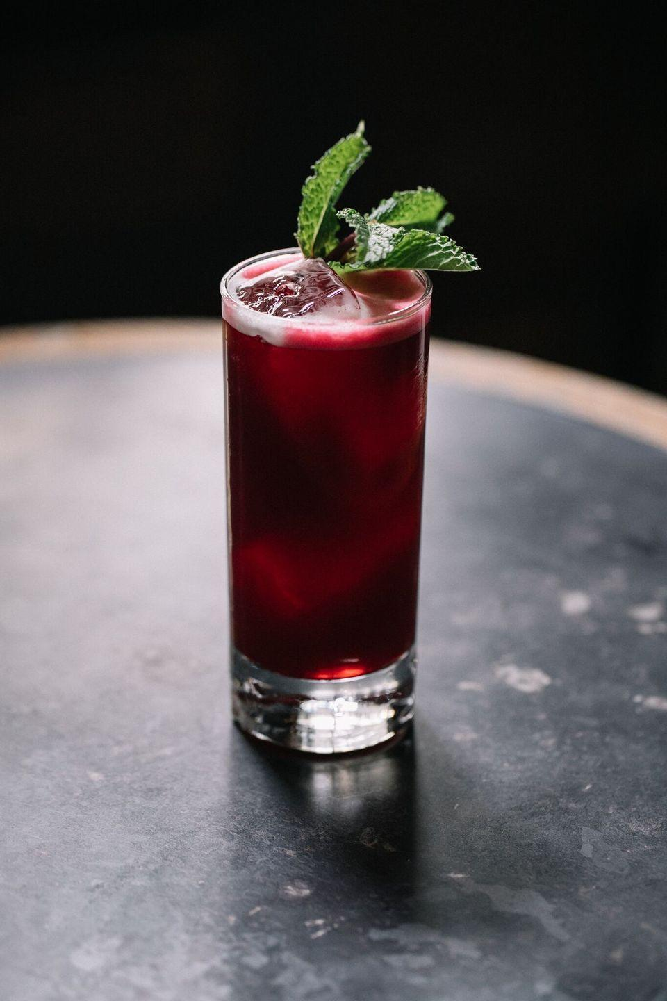 """<p><strong>Ingredients</strong></p><p>1 oz Mezcal<br>1 oz Pimms<br>1 oz beet juice<br>.25 ginger juice<br>.25 lemon juice<br>.25 simple syrup<br>.5 oz ginger beer<br>pinch mint</p><p><strong>Instructions</strong></p><p>Shake all ingredients except ginger beer together in a shaker tin with ice. Strain into a highball glass and top with ginger beer.</p><p><em>From <a href=""""http://ward3.com/"""" rel=""""nofollow noopener"""" target=""""_blank"""" data-ylk=""""slk:Ward III"""" class=""""link rapid-noclick-resp"""">Ward III</a> in New York City</em></p>"""