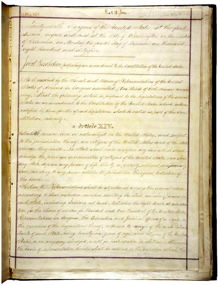 The 14th Amendment of the Constitution. (Photo: NARA)