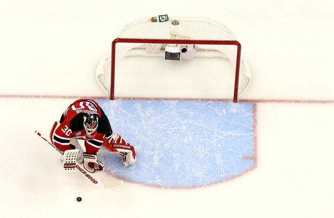 NEWARK, NJ - JUNE 02:  Martin Brodeur #30 of the New Jersey Devils makes a save against the Los Angeles Kings during Game Two of the 2012 NHL Stanley Cup Final at the Prudential Center on June 2, 2012 in Newark, New Jersey.  (Photo by Jim McIsaac/Getty Images)