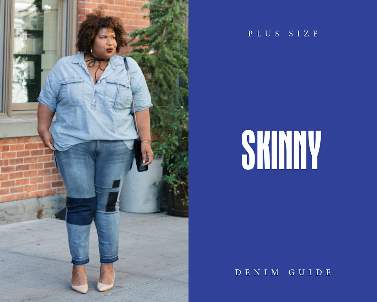 """<p>For a twist on the classic solid skinny jean, opt for patchwork denim paired with a chambray top. Photo: Courtesy of Kellie Brown, <a rel=""""nofollow"""" href="""""""">@itsmekellieb</a> </p>"""