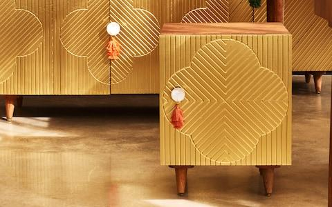 Fiore Gold Brass & Mango Wood Dressing Table - Credit: Oliver Bonas