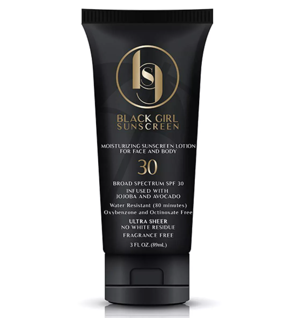 """<p><strong>Black Girl Sunscreen</strong></p><p>target.com</p><p><strong>$15.99</strong></p><p><a href=""""https://www.target.com/p/black-girl-sunscreen-broad-spectrum-spf-30-3-fl-oz/-/A-76157877"""" rel=""""nofollow noopener"""" target=""""_blank"""" data-ylk=""""slk:Shop Now"""" class=""""link rapid-noclick-resp"""">Shop Now</a></p><p>With one of the cleanest list of ingredients on this list, Black Girl Sunscreen is paraben free, cruelty free, and totally vegan. One Target customer raves, """"I know as women of color we worry about that ashy/white cast type of look when we put on sunscreen or looking oily but this sunscreen doesn't cause either one of those things to happen.""""</p>"""