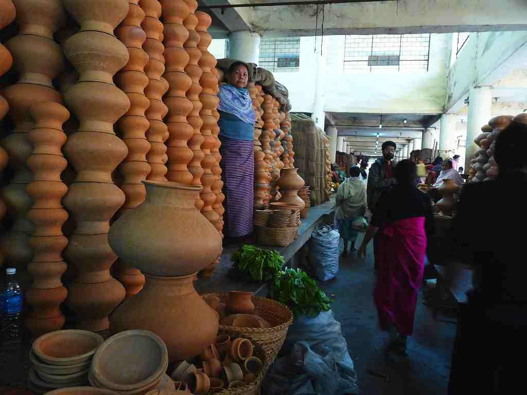 Earthenware on sale in Ima Keithel in Manipur.