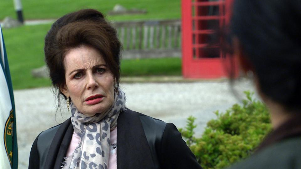 FROM ITV  STRICT EMBARGO  Print media - No Use Before Tuesday 13th July 2021 Online Media - No Use Before Tuesday 13th July 2021  Emmerdale - Ep 9106  Thursday 22nd July 2021 - 1st Ep  Faith Dingle [SALLY DEXTER] pleads with a distressed Sarah Sugden [KATIE HILL] to keep quiet, but as Chas Dingle [LUCY PARGETER] appears and demands the truth, it looks like Faith will be forced to come clean  Picture contact David.crook@itv.com   Photographer - Mark Bruce  This photograph is (C) ITV Plc and can only be reproduced for editorial purposes directly in connection with the programme or event mentioned above, or ITV plc. Once made available by ITV plc Picture Desk, this photograph can be reproduced once only up until the transmission [TX] date and no reproduction fee will be charged. Any subsequent usage may incur a fee. This photograph must not be manipulated [excluding basic cropping] in a manner which alters the visual appearance of the person photographed deemed detrimental or inappropriate by ITV plc Picture Desk. This photograph must not be syndicated to any other company, publication or website, or permanently archived, without the express written permission of ITV Picture Desk. Full Terms and conditions are available on  www.itv.com/presscentre/itvpictures/terms