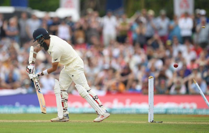 Moeen Ali was bowled first ball as England struggled in the first session (Getty)