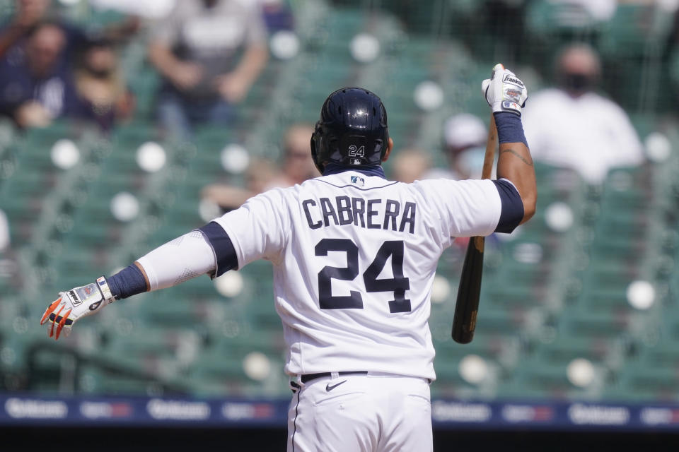 Detroit Tigers' Miguel Cabrera reacts after being called out on strikes during the third inning of a baseball game against the Minnesota Twins, Tuesday, April 6, 2021, in Detroit. (AP Photo/Carlos Osorio)