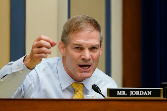 Rep. Jim Jordan, R-Ohio, speaks during a House Select Subcommittee on the Coronavirus Crisis hybrid hearing on Capitol Hill in Washington,DC on May 19, 2021. (Susan Walsh/AFP via Getty Images)