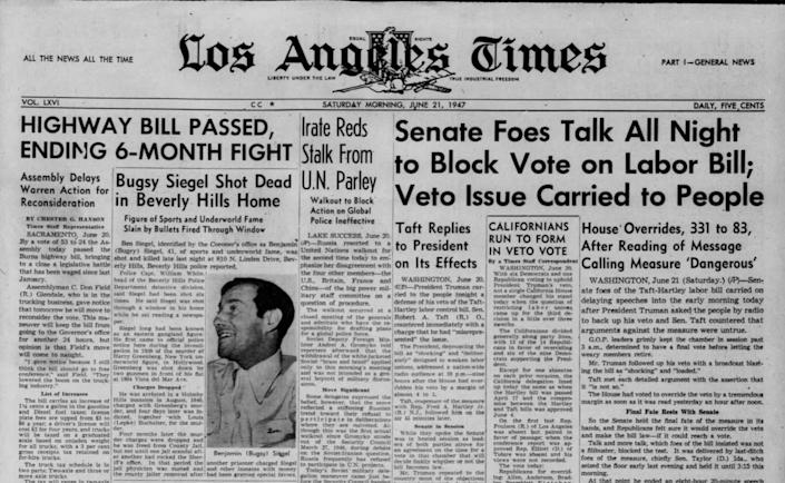 The headline of the LA Times front page, June 21, 1947, reads: 'Bugsy Siegel Shot in Beverly Hills Home.  ''