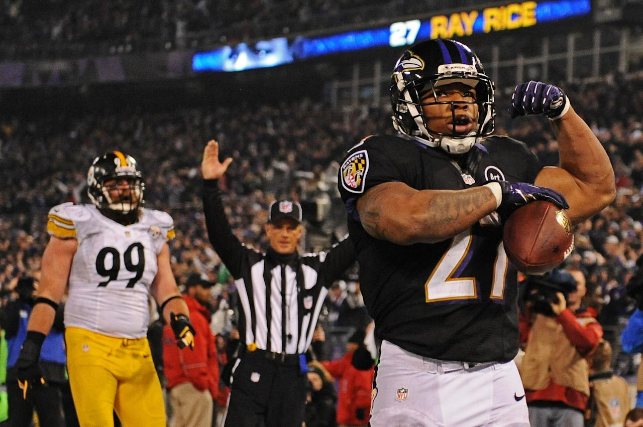 BALTIMORE, MD - DECEMBER 02: Running back Ray Rice #27 of the Baltimore Ravens celebrates a third quarter touchdown against the Pittsburgh Steelers at M&T Bank Stadium on December 2, 2012 in Baltimore, Maryland. (Photo by Patrick Smith/Getty Images)