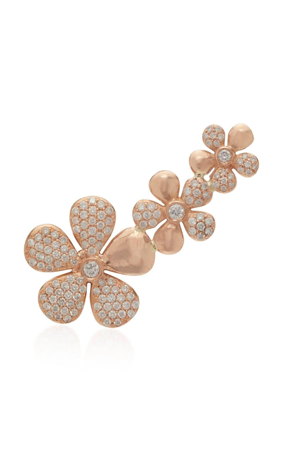 """<p><strong>Colette Jewelry</strong></p><p>modaoperandi.com</p><p><strong>$3250.00</strong></p><p><a href=""""https://go.redirectingat.com?id=74968X1596630&url=https%3A%2F%2Fwww.modaoperandi.com%2Fwomen%2Fp%2Fcolette-jewelry-llc%2Ffloral-18k-rose-gold-and-diamond-ear-climber%2F292948&sref=https%3A%2F%2Fwww.harpersbazaar.com%2Fwedding%2Fplanning%2Fg33647953%2Ffourth-anniversary-gift-ideas%2F"""" rel=""""nofollow noopener"""" target=""""_blank"""" data-ylk=""""slk:SHOP NOW"""" class=""""link rapid-noclick-resp"""">SHOP NOW</a></p><p>Nothing says happy anniversary like jewelry. This pavé diamond ear climber is modern, feminine, and also in theme.</p>"""
