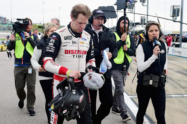 Brad Keselowski after he finished 19th at Kansas on Sunday. (Photo by Jared C. Tilton/Getty Images)