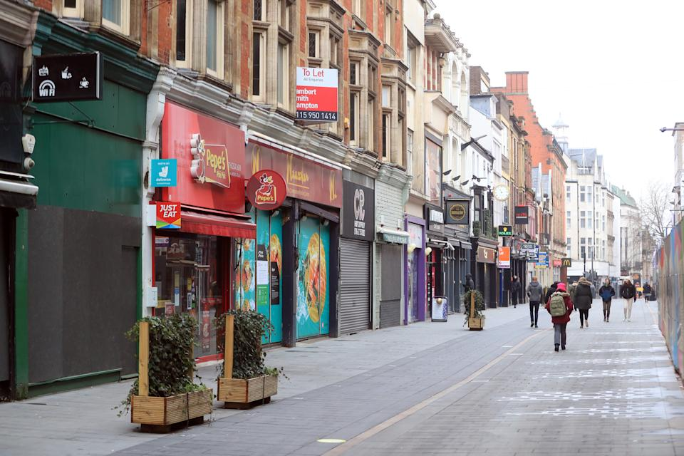 Many shops remain closed on the High Street in Leicester during England's third national lockdown to curb the spread of coronavirus. (Photo by Mike Egerton/PA Images via Getty Images)