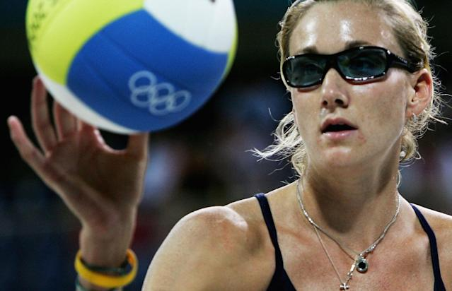 Kerry Walsh of the USA catches the ball during the women's preliminary match on August 17, 2004 during the Athens 2004 Summer Olympic Games at the Olympic Beach Volleyball Centre at the Faliro Coastal Zone Complex in Athens, Greece.