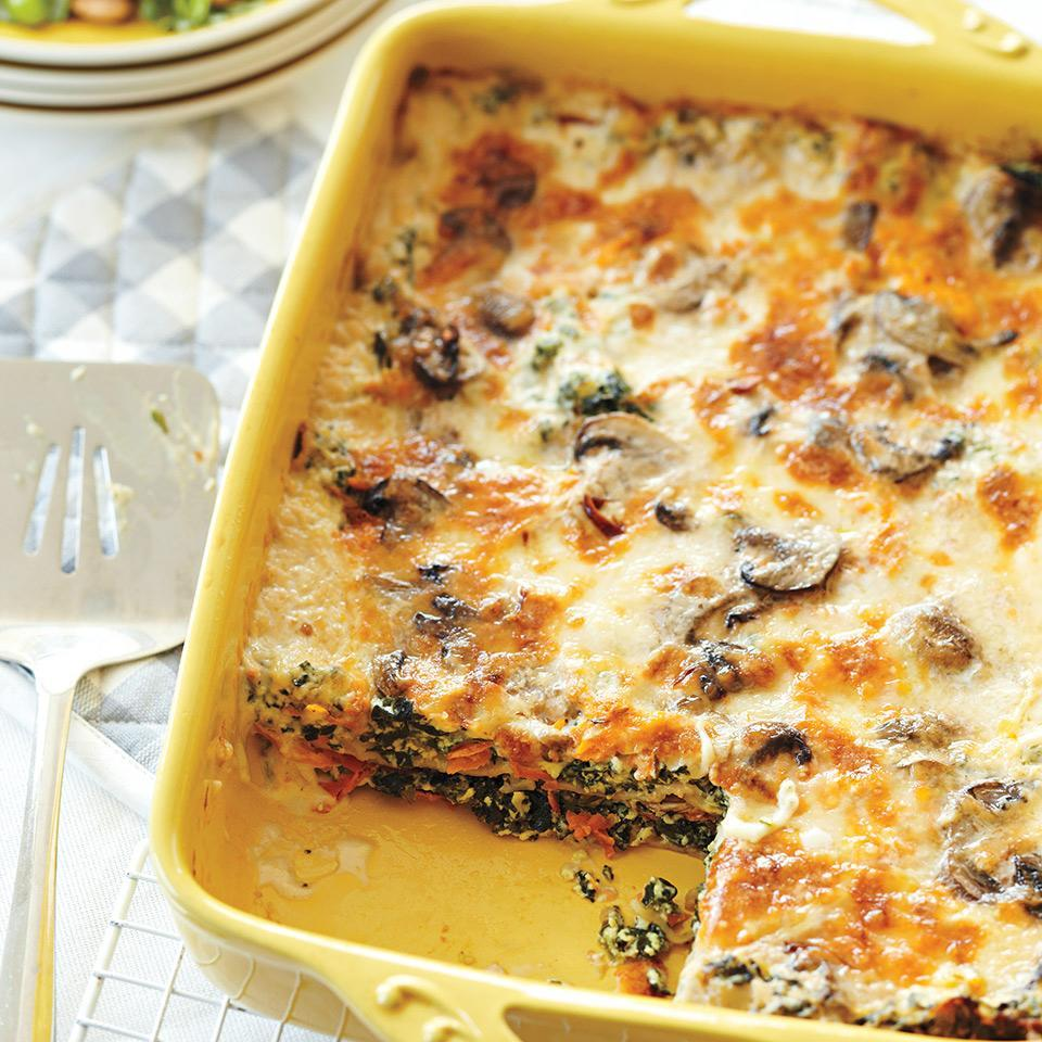 """<p>This lightened-up lasagna packs in the nutrients with plenty of spinach, carrots, and mushrooms--plus satisfies cheese cravings with ricotta, mozzarella and Parmesan. <a href=""""http://www.eatingwell.com/recipe/259712/spinach-alfredo-lasagna/"""" rel=""""nofollow noopener"""" target=""""_blank"""" data-ylk=""""slk:View recipe"""" class=""""link rapid-noclick-resp""""> View recipe </a></p>"""
