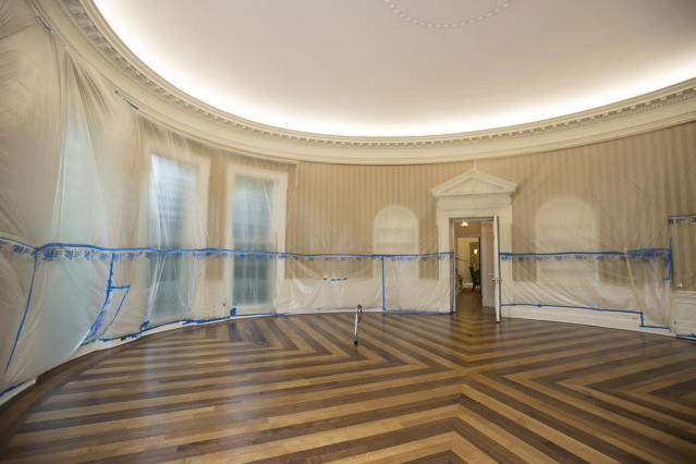 <p>The hardwood floor of the Oval Office is resurfaced as the West Wing of the White House in Washington undergoes renovations while President Donald Trump is spending time at his golf resort in New Jersey, Friday, Aug. 11, 2017. (AP Photo/J. Scott Applewhite) </p>
