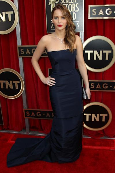 Actress Jennifer Lawrence arrives at the 19th Annual Screen Actors Guild Awards at the Shrine Auditorium in Los Angeles on Sunday, Jan. 27, 2013. (Photo by Matt Sayles/Invision/AP)