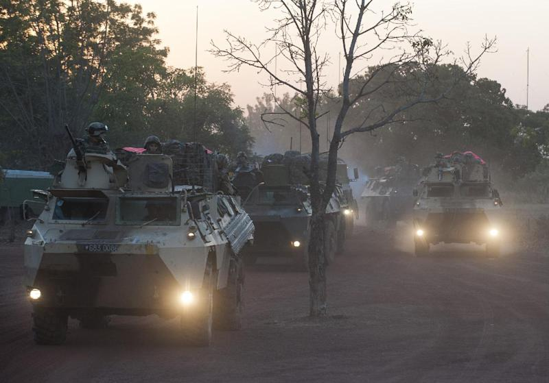 """In this picture released by the French Army Communication Audiovisual office (ECPAD) French armored vehicules drive to the north of Mali, outside Bamako, Wednesday, Jan. 16, 2013. French troops pressed northward in Mali toward territory occupied by radical Islamists on Wednesday, military officials said, announcing the start of a land assault that will put soldiers in direct combat """"within hours."""" (AP Photo/Arnaud Roine, ECPAD)"""