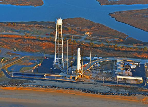 The new Antares rocket built by Orbital Sciences Corp. is seen atop its launch pad at NASA's Wallops Flight Facility on April 17, 2013, during an initial launch attempt for its first test flight. A last-minute glitch delayed the launch try.